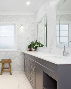Hamptons styling at its best. With a classic chrome tapware selection and light . Bathroom Renos, Budget Bathroom, Bathroom Flooring, Small Bathroom, Modern Bathroom, Master Bathroom, Bathroom Ideas, Bathroom Styling, Bathroom Interior Design