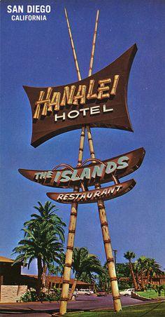 hotel signage postcard, closer view of hotel signagePostcard from Hanalei Hotel - San Diego, CA Vintage Neon Signs, Vintage Tiki, Vintage Room, Luau, Kitsch, Tiki Art, Tiki Tiki, Retro Signage, Signage Design