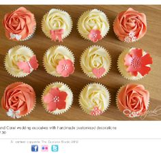 Coral and ivory cupcakes