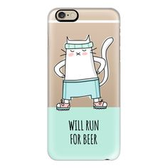 iPhone 6 Plus/6/5/5s/5c Case - Cat - Will Run For Beer - Sport Jogging... (145 BRL) ❤ liked on Polyvore featuring accessories, tech accessories, iphone case, apple iphone cases, slim iphone case, cat iphone case and mint green iphone case