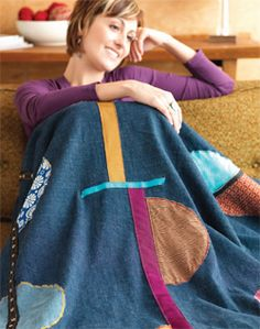 Free quilt pattern, Denim Throw: http://www.sewdaily.com/Sewing-Projects-for-Home/