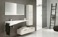 meubles salle de bains suspendus blancs et vasque extraordinaire