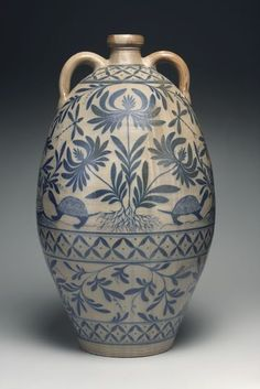 Very Nice Tall Crock with Two Handles, decorated with Leaves, Turtles & Diamond Pattern Border ~ Jones Pottery ....