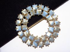 Blue Thermoset Brooch Square Thermoplastic by darsjewelrybox
