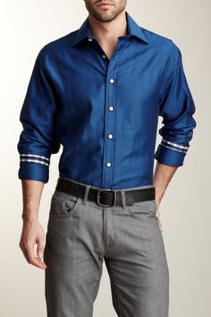 Blowout  Rufus Men Herringbone Dress Shirt  $ 50.00