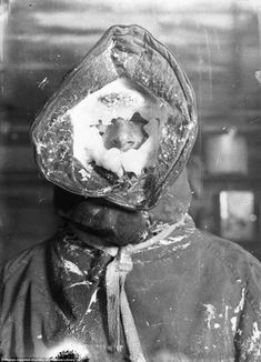 Ice mask on C.T. Madigan, one of Sir Douglas Mawson's team pictured some time between 1911-1914 by Frank Hurley.