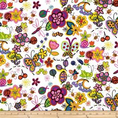 """Monkey's Bizness Hug a Bug Tossed Bugs & Flowers Natural; also available in a navy background; 100% Cotton, 44"""" wide"""