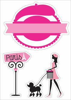 Topo de bolo - parís Bolo Paris, Paris Cakes, Paris Decor, Paris Party, Magic Box, Pocket Scrapbooking, Printable Stickers, Coloring Book Pages, Paper Decorations