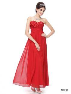 胸元フラワーがアクセント! レッド系パーティーロングドレス♪ - ロングドレス・パーティードレスはGN|演奏会や結婚式に大活躍!