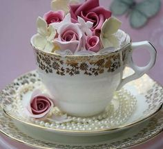 Teacup Flowers, Tea Cups, Tableware, Mugs, Drinkware, Flowers, Dinnerware, Dishes, Place Settings