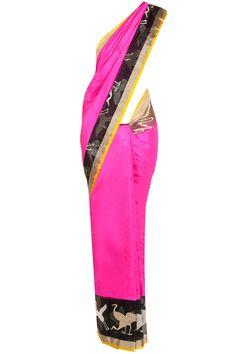 Fushia banarasi kora sari BY EKAYA.Shop now at perniaspopupshop.com #perniaspopupshop #clothes #womensfashion #love #indiandesigner #EKAYA #happyshopping #sexy #chic #fabulous #PerniasPopUpShop #sari