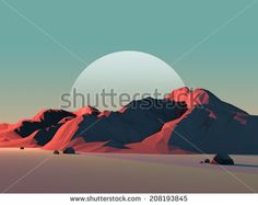 Low-Poly Mountain Landscape at Dusk with Moon - stock photo