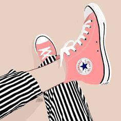 Pink & Casual illustration drawing sketch minimal fashion casual drawing fashion Illustration minimal Pink sketch is part of Sneakers illustration - New Sneakers, Sneakers Fashion, Sneakers Nike, Shoes Wallpaper, Converse Wallpaper, Fashion Wallpaper, Wallpaper Art, Trendy Wallpaper, Pop Art