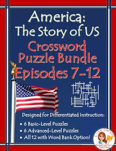 Make sure your students have fun in U.S. History second semester with these America the Story of US Puzzle Worksheets for Episodes 7-12. Covers from the late 1800s and industrialization through contemporary issues! Includes a basic *and* and advanced puzzle for each episode, with fast and easy differentiation via a word bank option for all 12! Answer keys included. #americanhistory #ushistory #americathestoryofus #wwii #industrialization #coldwar #greatdepression #civilrights #watergate… Teaching Materials, Teaching Ideas, Teaching Resources, Second Semester, Crossword Puzzles, Differentiated Instruction, History Channel, Differentiation, Student Learning