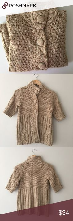 American Rag Tan Cable Short Sleeve Cardigan Sz S Beautiful tan short sleeve Cable cardigan by American Rag. Size Small. Excellent preowned condition. American Rag Sweaters Cardigans
