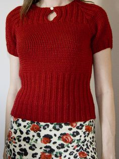 Free Knitting Pattern for 3-Hour Sweater - This vintage pattern from the 1930s is a quick knit though most Ravelrers said it took longer than 3 hours. It's a pullover sweater with short puffed sleeves, ribbed yoke and hem, and peekaboo closure. Pictured project by heliodor who made modifications. I recommend you check the Ravelry projects for notes.