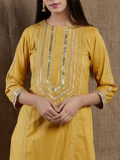 Yellow Hand Embroidered Cotton Gota Kurta with Palazzo and Old Rose Cotton Mulmul Dupatta - Set of 3 Salwar Neck Designs, Neck Designs For Suits, Kurta Neck Design, Sleeves Designs For Dresses, Dress Neck Designs, Kurta Designs Women, Blouse Designs, Neckline Designs, Sleeve Designs