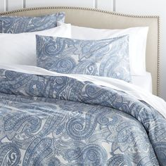 Shop Mariella Blue Duvet Covers and Pillow Shams.  Mariella bed linens modernize the traditional paisley pattern in tonal blue and grey.