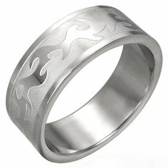 Stainless Steel Tribal Design Ring, Tribal Wedding Band, Size 8 Beautiful Silver Jewelry. $9.95. Highly Polished Tribal Design Raised Surface on Matte Field. Quality Stainless Steel Ring. Size 8