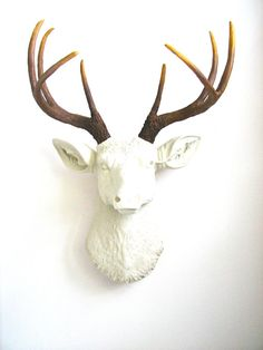 Faux Taxidermy Cream, (off-white) Deer Head wall mount wall hanging wall decor with natural looking antlers home decor