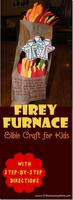 Firey Furnace Shadrach, Meshach, and Abednego Sunday School Bible Craft for Kids. This simple to make Sunday School craft will be a hit with kids from preschool, kindergarten to 1st grade and 2nd grade.