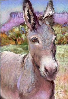 Donkey Original Pastel Painting Southwestern Ranch Farm Animal Country Burro