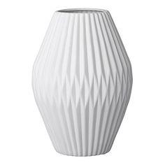 Bloomingville Vase aus Keramik weiß geriffelt 25cm