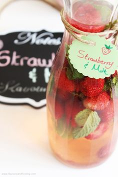 Strawberry Mint Flavored Water perfect for summer and easy to make. Made with natural water and infused with frozen strawberries and fresh mint leaves  http://www.flavoursandfrosting.com/strawberry-mint-flavored-water-recipe/