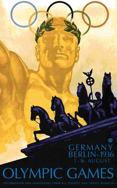 The 1936 Games was dominated by propoganda, as Hitler grasped the opportunity to promote the Nazi line of Aryan racial superiority. Thankfully, the black athlete Jesse Owens won four gold medals, and made Hitler look pretty stupid.    But one thing's for sure: the poster for the event, designed by Franz Würbel, managed to promote the event brilliantly.