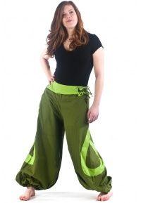 Pantalon bicolore ceinture et goutte été - FZ1014bis - 100% pur coton léger du Népal.  Existe en tailles M/L, L/XL et XXL.