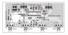 Lm1036 tons Graves Bass Agudos Treble Volume Loudness Balance layout 450x235 Lm1036   Circuito de Controle de tons estéreo Graves, Agudos, Volume circuito audio circuito circuito amplificador