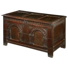 Carolean Carved Oak Coffer | From a unique collection of antique and modern more antique and vintage finds at https://www.1stdibs.com/furniture/more-furniture-collectibles/more-antique-vintage-finds/