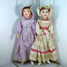"""HAZELLE'S """"SPECIAL"""" MARIONETTES NO. 413-SOUTHERN BELLES. Same character, different heads and costumes - Left, 1953; Right, 1954-80. The easiest way to tell the difference in the faces is the eyes. The right marionette no longer has an eighth string for the mouth because the mechanism was disabled by the previous owner."""