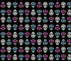 Sugar Skulls on Black fabric by indescribble on Spoonflower - custom fabric