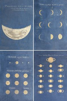 Phase Of The Moon. Phases of Venus. Aspect Of Jupiter. Aspect of Saturn. Late 17th century - Bologna, Museo della Specola, Universita di Bologna.