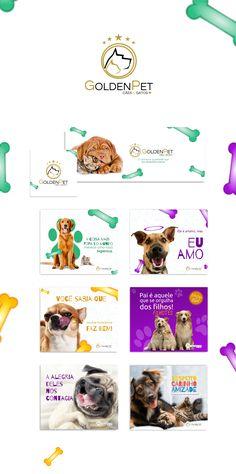 Social mídia para petshop GoldenPet em Porto Alegre Social Media Art, Social Media Template, Social Media Marketing, Social Media Design, Ad Design, Animal Design, Design Reference, Pet Shop, Facebook