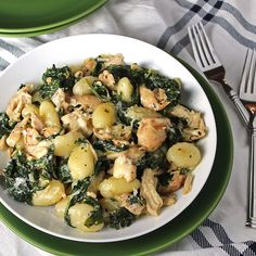 Creamy Chicken and Kale Gnocchi - via Whole Food | Real Families