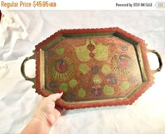 ON SALE TODAY Vintage Brass Tray Etched design boho ethnic brass colorful enamel peacock made in India