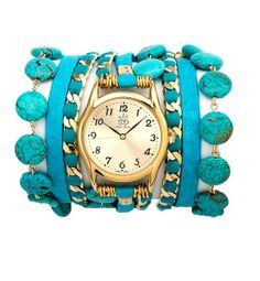 Turquoise and Leather Wrap Watch. In love with this color <3