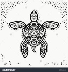 Decorative Graphic Turtle, Tattoo Style, Tribal Totem Animal, Ornamental…
