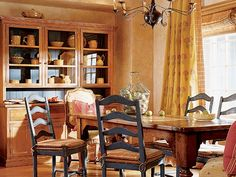 Breakfast room drapery treatment- love the dark in the back of the cabinets.  Could I paint the insert of the bay window like this??