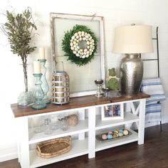 holiday styled rustic X console plans by ana-white.com