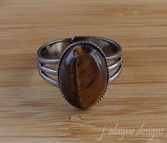 Tiger Eye Ring. Brown Stone Ring. Tiger Eye Cabochon. by jalayne, $9.00