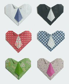 Necktie Heart made with origami Origami Tie, Easy Origami Flower, Origami Star Box, Origami Design, Origami Stars, Origami Paper, Oragami, Origami Instructions For Kids, Easy Origami For Kids