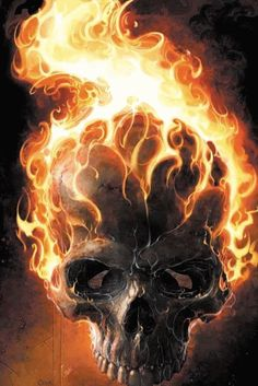 Ghost Rider (John Blaze) - Marvel Universe Wiki: The definitive online source for Marvel super hero bios. Ghost Rider 2, Ghost Rider Marvel, Ghost Rider Tattoo, Comic Books Art, Comic Art, Art Harley Davidson, Spirit Of Vengeance, Totenkopf Tattoos, Airbrush Art