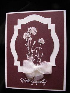 Handmade Burgundy Sympathy Card Using Stampin Up Rhinestones Spellbinders | eBay