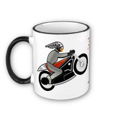 The Cafe Racer (Personalized Ceramic Mug) -  Like motorcycles? Got style? Be Special! Personalize this cool ceramic mug that features Leslie Sigal Javorek's original Art Deco inspired Café Racer motorcycle design. When placing your order, don't forget to  personalize the custom text field (printed in dark red in center section of mug) with your name - or any other message! Matching T-Shirt at: www.zazzle.com/art_deco_motorcycle_t_shirt-235193983162099048?rf=238155573613991097