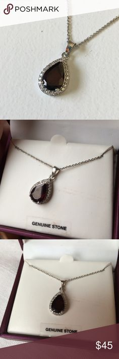 "BRAND NEW Genuine Red Stone Teardrop Necklace Brand: unbranded  Condition: Brand new in box  MSRP: $59.99  Material: Silver plate & genuine stone (sorry I don't know what the actual stone is but it is very very dark red)  Measurements: 18"" chain Jewelry Necklaces"