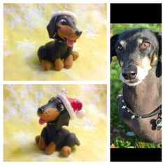 Custom handmade Dachshund ornament. Sculpted from Sculpey Premo polymer clay. To inquire about having a custom figurine or ornament made please contact me on Facebook or etsy ( Tempies Menagerie ) Links in bio. #dachshund #doxie #wienerdog #weenie #dog #dogs #doglover #dogsofinstagram #pet #pets #petpeople #furbaby #custom #handmade #ooak #craft #etsy #figurine #christmas #ornament #decoration #sculpey #premo #polymerclay