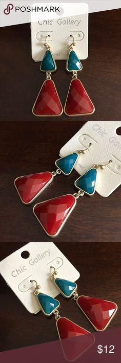 """Earrings City Gallery satin gold, two-tone metal 2.50""""L fish hook (pierced) earrings. City Gallery Jewelry Earrings"""